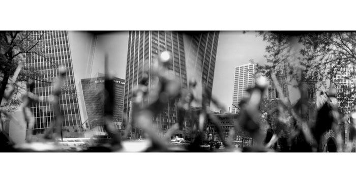 Twin Towers, 1999. Toy Camera, B&W Film, Silver Gelatin Print, 20x40