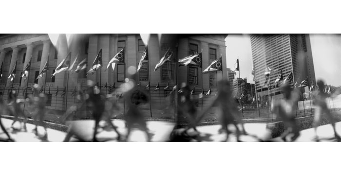 Row of Flags, 1999. Toy Camera, B&W Film, Silver Gelatin Print, 20x40