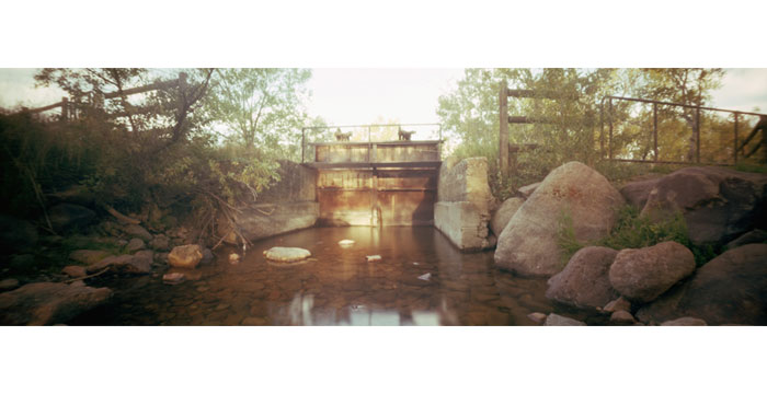 Sluice Gate at Sunrise, 2008. Pinhole Camera, Color Film, Pigment Inkjet Print, 12x36